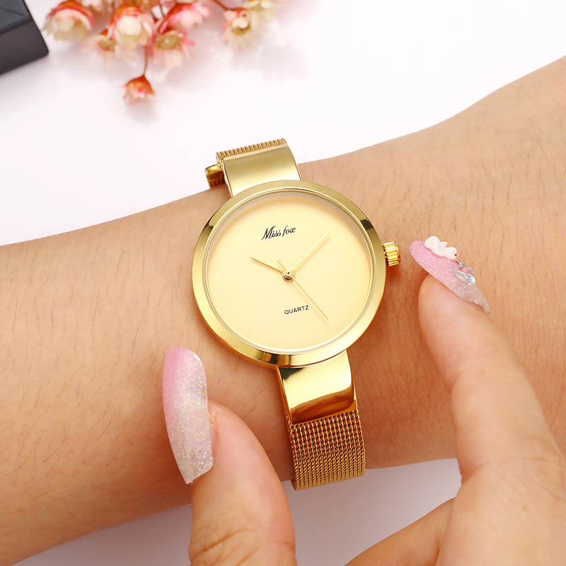 Missfox 2190 Golden horloge Dames quartzhorloge dameshorloge Topmerk - Dameshorloges