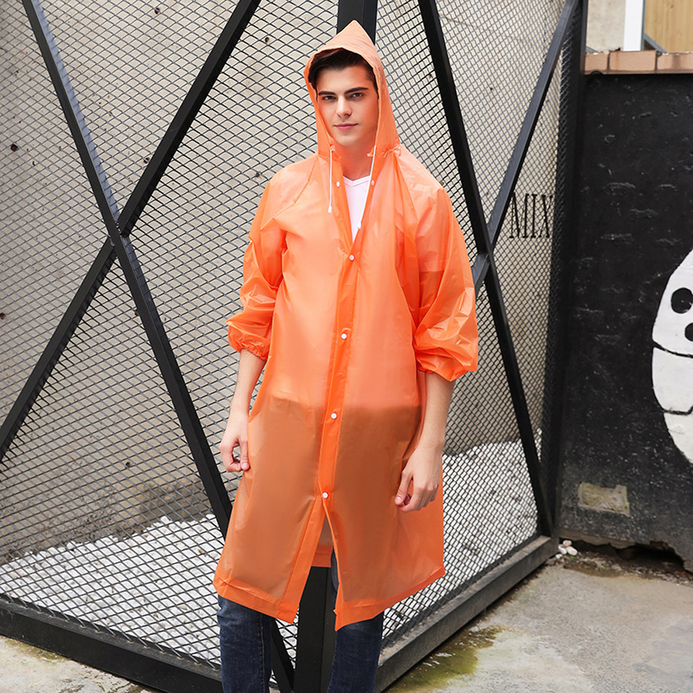Womens Men Waterproof Jacket Thick PVC Raincoat Rain Coat Hooded Poncho Rainwear