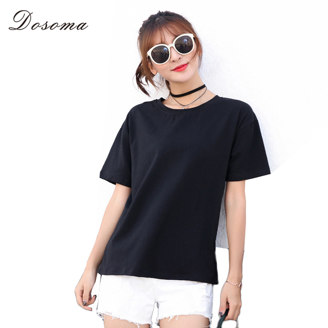 05ed8b68579 DOSOMA simple white tee for women 2018 summer 2XL plus size tops female  solid round neck tee casual loose korean women s clothes