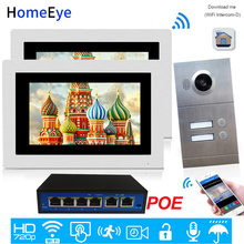 720P WiFi IP Video Door Phone Video Intercom 2-Apartments Door Access Control System iOS/Android APP Remote Unlock POE Supported apartment wired video door phone audio visual intercom entry system 6 unit
