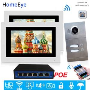 720P WiFi IP видео домофон видеодомофон 2-квартиры система контроля допуска к двери iOS/Android приложение удаленное разблокирование POE поддерживаетс...