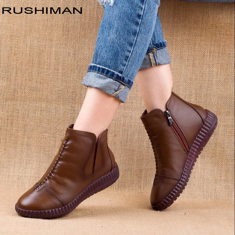2018 winter Genuine Leather Ankle Boots Handmade Lady soft Flat shoes comfortable Casual Moccasins side Zip Ankle Boots
