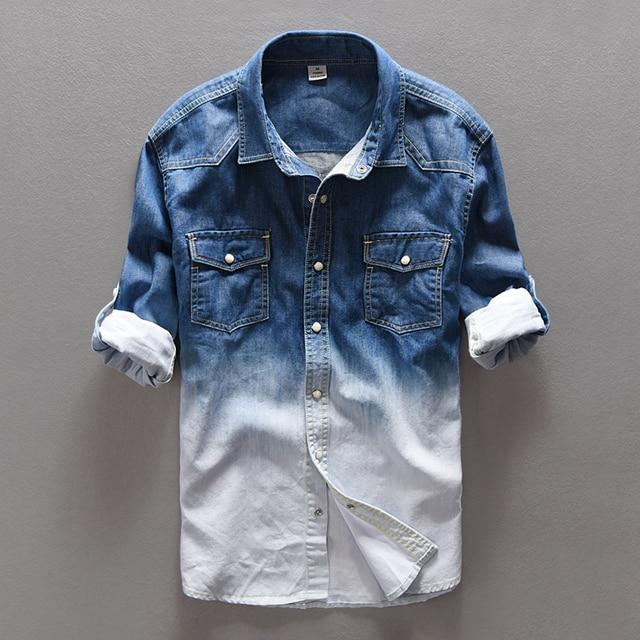 009191bc1a Primavera jeans camisa hombres marca casual Denim camisa hombres algodón  camisas para hombre otoño gradiente hombre
