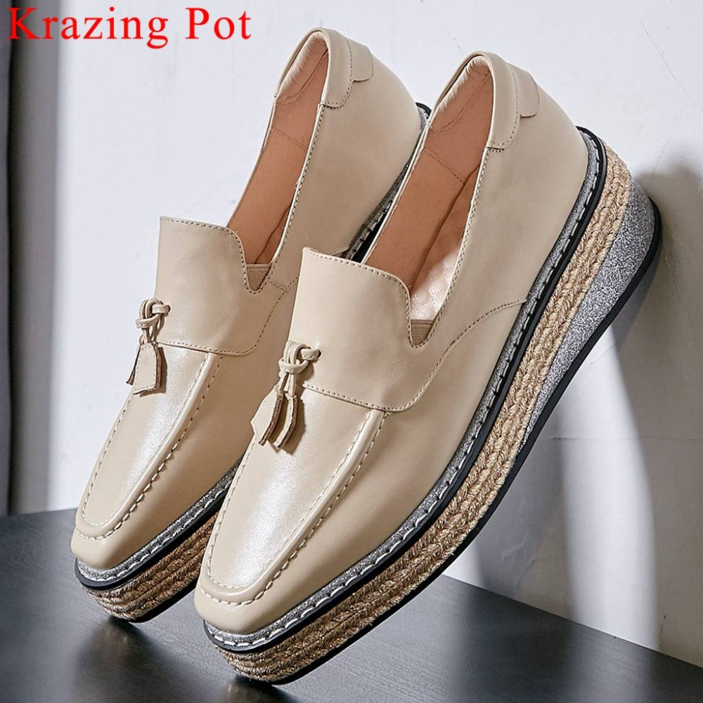 Krazing Pot luxury real cow leather thick bottom slip on straw decoration square toe concise style