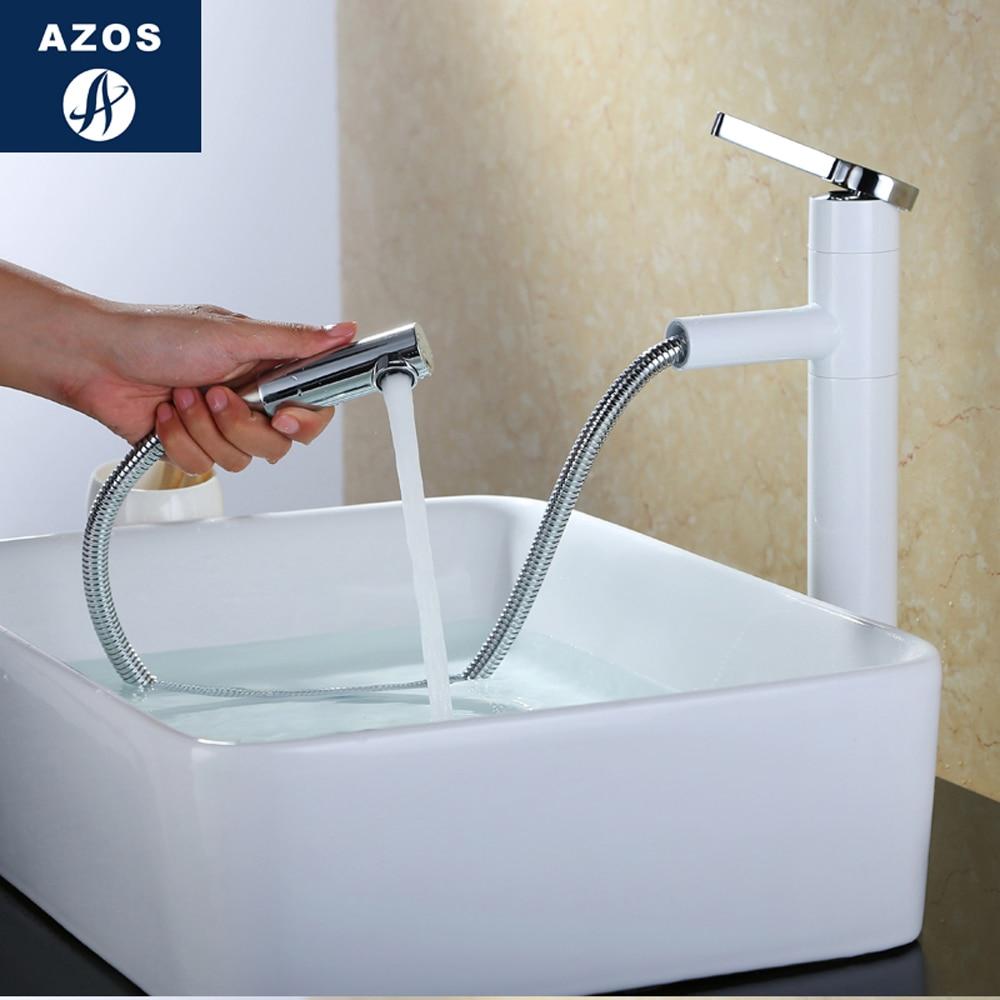 Modern Bathroom Faucet Pull Out Single Handle Swivel Spout Vessel Sink Mixer Tap Nickel White 2 Sizes CLMP018Z цена