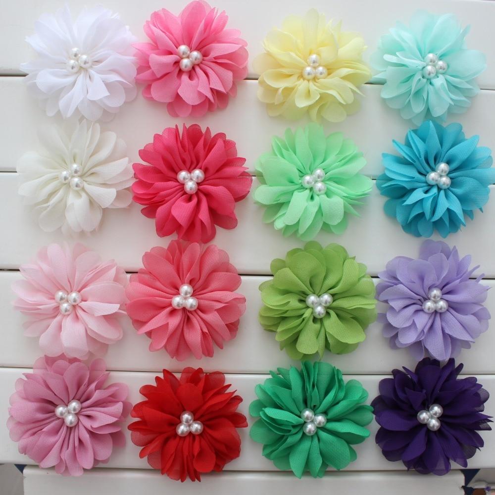 7cm Hair Accessories Rose Chiffon Flower Pearl Flower For Hair