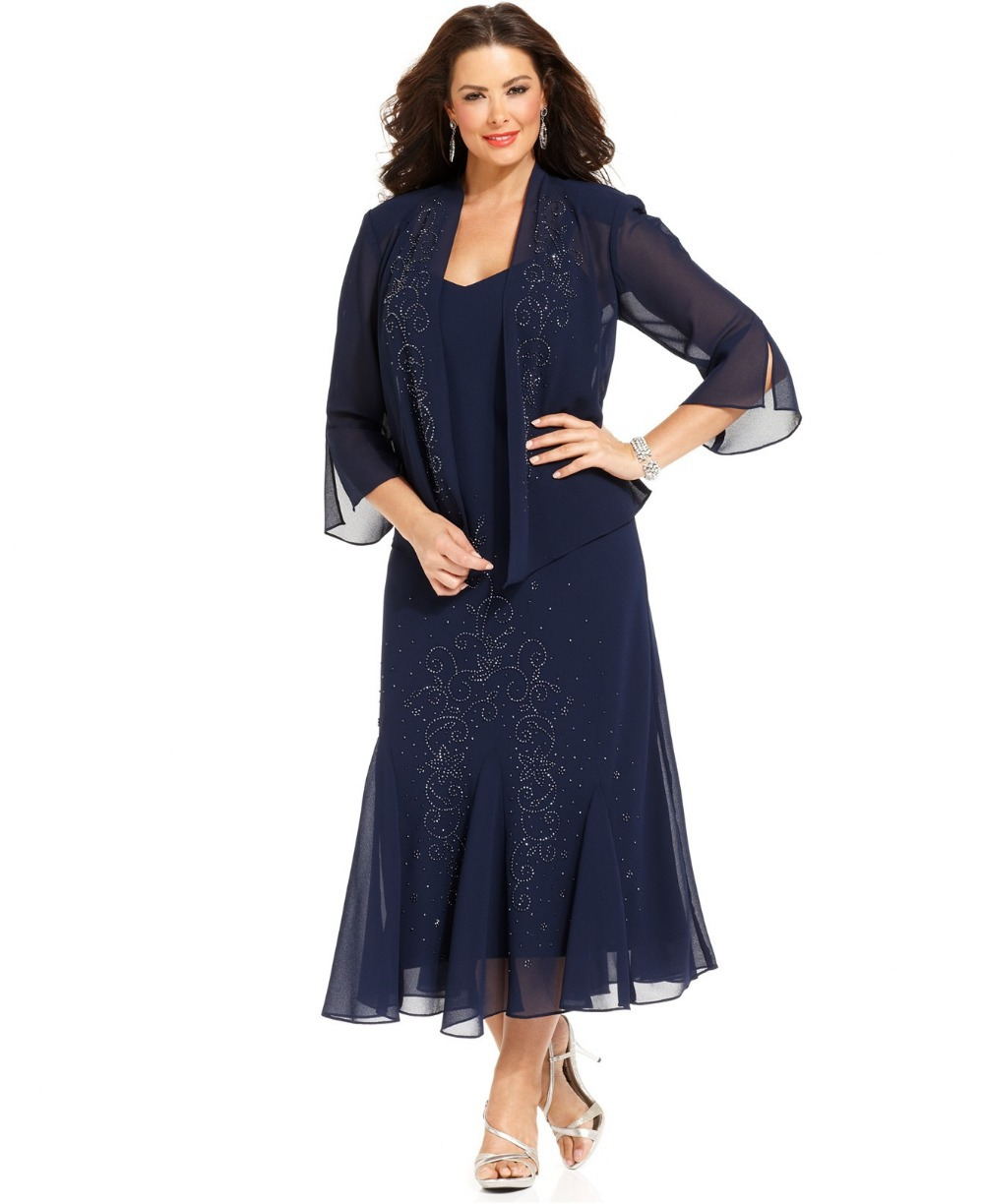 Plus Size Mother Bride Dresses: 2017 Navy Blue Plus Size Chiffon Jacket Tea Length Mother