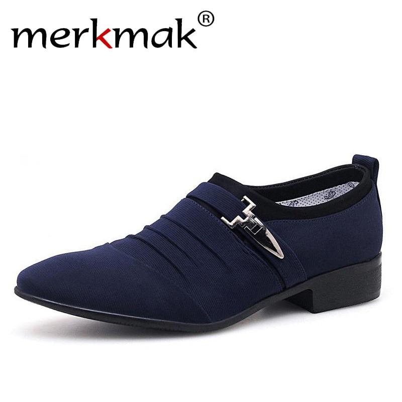 все цены на Merkmak Plus Size 38-48 Men Dress Shoes Classic Business Office Oxford Shoes For Men 2018 New Casual British Style Man Flats онлайн
