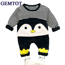 GEMTOT Children's clothing spring and autumn 2017 new baby girl boy suit set Cotton long-sleeved T-shirt + pants 2 pieces 0-3Yrs цены