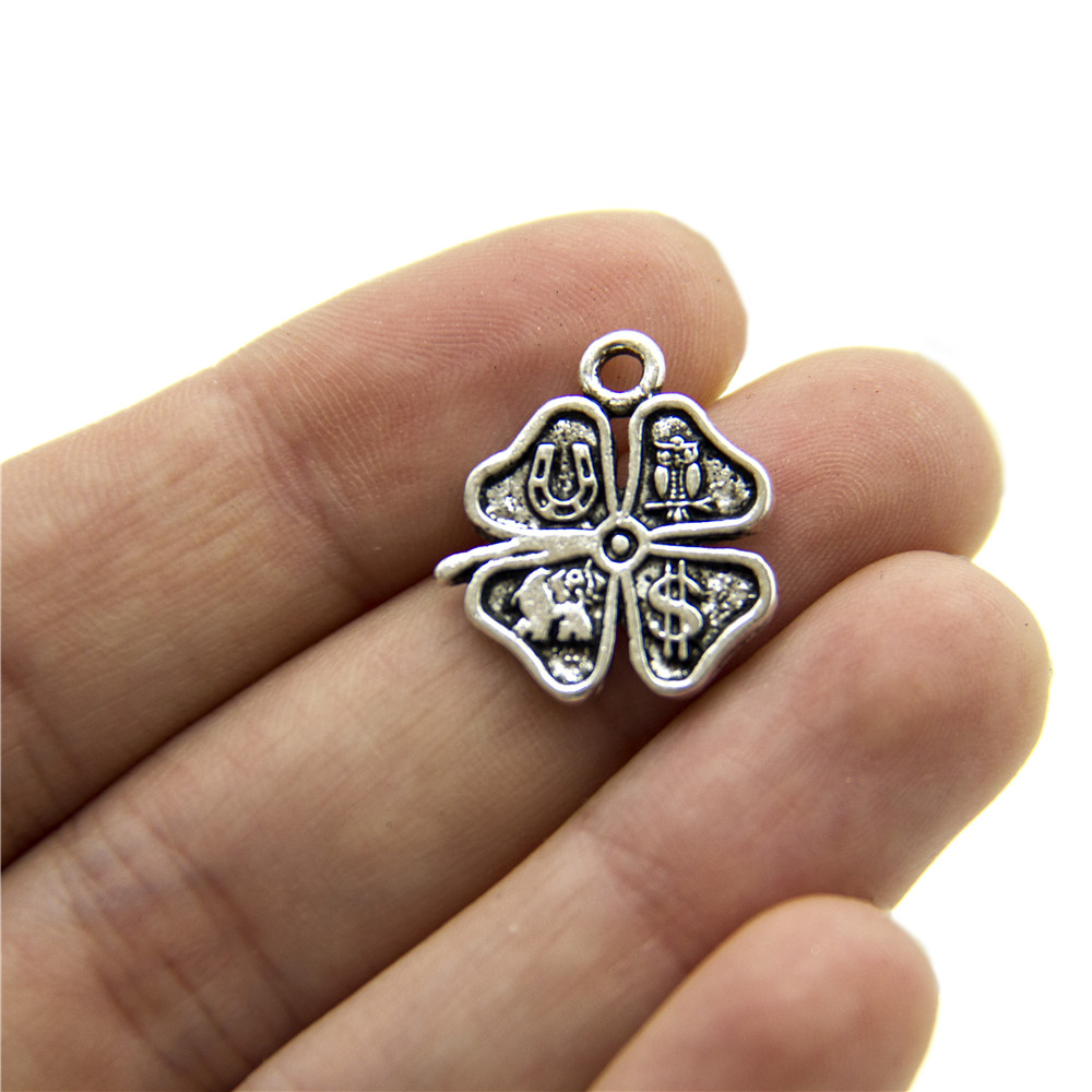 20 units Pendant antique sliver Clover Elephant magnet Dollars Pendants Jewelry Findings & Components D-3-325