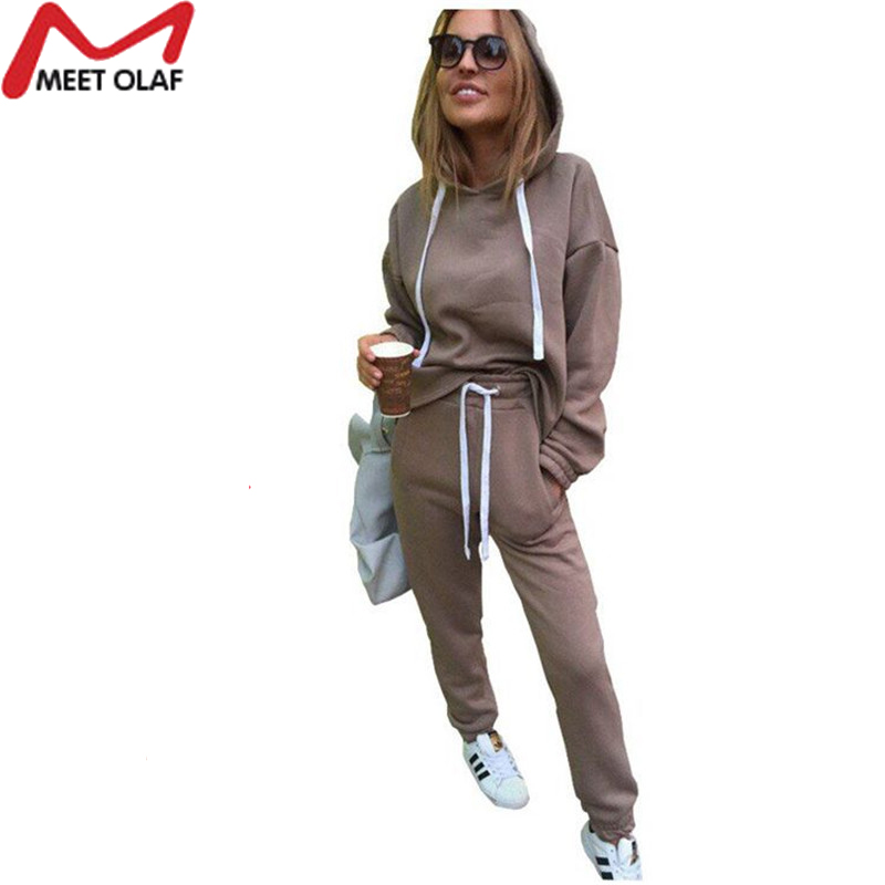 Image 5 - 2019 New Autumn Tracksuit Long Sleeve Thicken Hooded Sweatshirts 2 Piece Set Casual Sport Suit Women Hoodies Pants Set CC1482-in Women's Sets from Women's Clothing