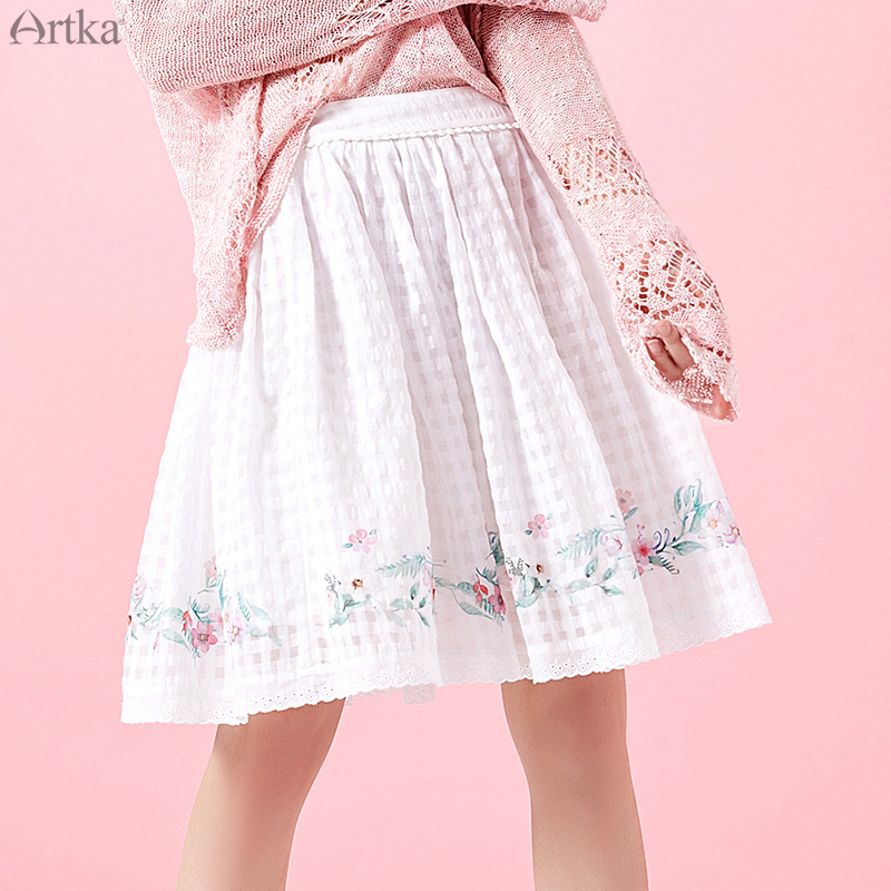 ARTKA 2019 Vintage Floral Printed Mini Skirt For Women Cotton Fashion Casual A line Skirt Lady