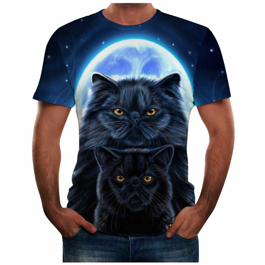 feitong Men's tshirt camisetas Summer Casual Round Neck 3D Cat Print Short Sleeve Tee Top mens t shirts fashion funny t shirts