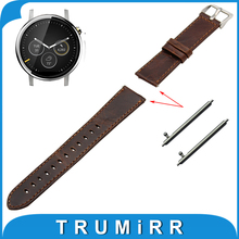 22mm Real Leather-based Watch Band Fast Launch Strap for Moto 360 2 46mm 2015 Belt Males Ladies Bracelet Brown + Spring Bar