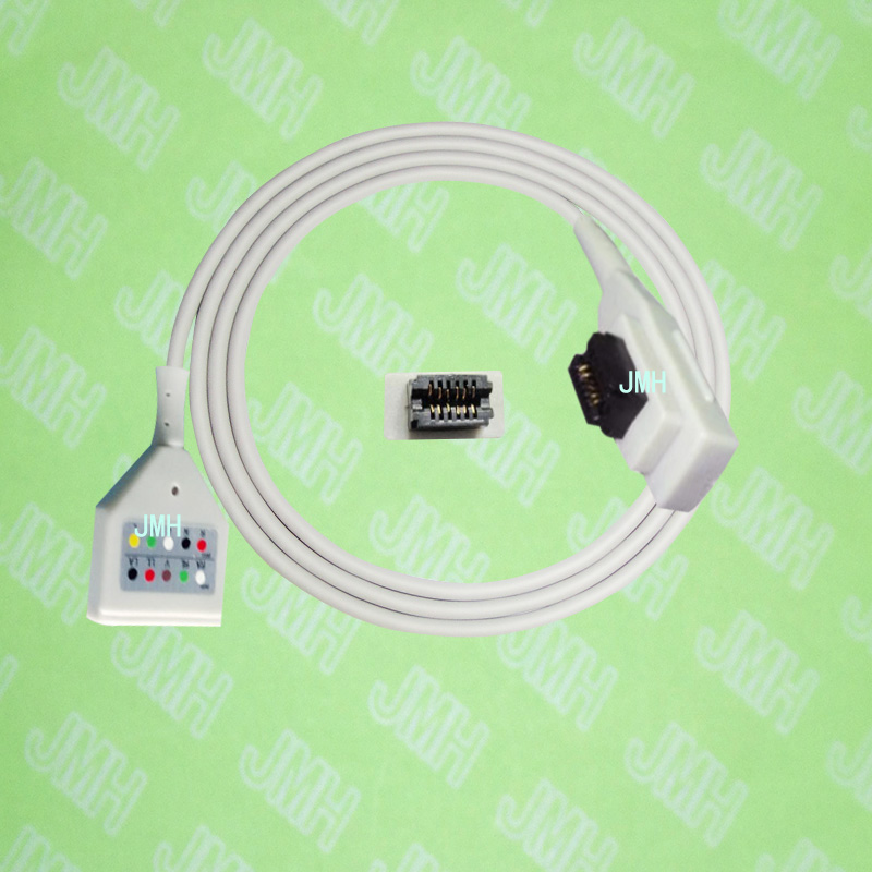Compatible with GE SEER MC ECG Machine the 41959-005,DIN 5-lead holter trunk cable.Compatible with GE SEER MC ECG Machine the 41959-005,DIN 5-lead holter trunk cable.