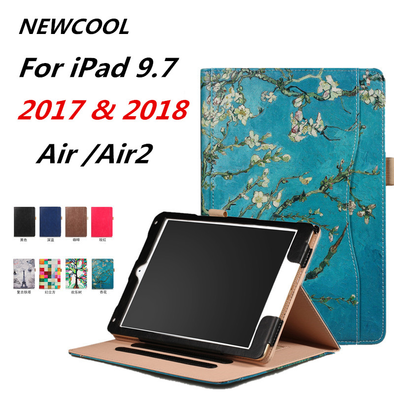 Tablet Case For iPad Air Air 2 ipad 9.7 2017 Ultra thin Flip Wallet Case PU Leather Cover For Ipad 9.7 2017 2018 a1893 sldpj stylish ultra thin protective pu leather case cover w visual window for iphone 4 4s red