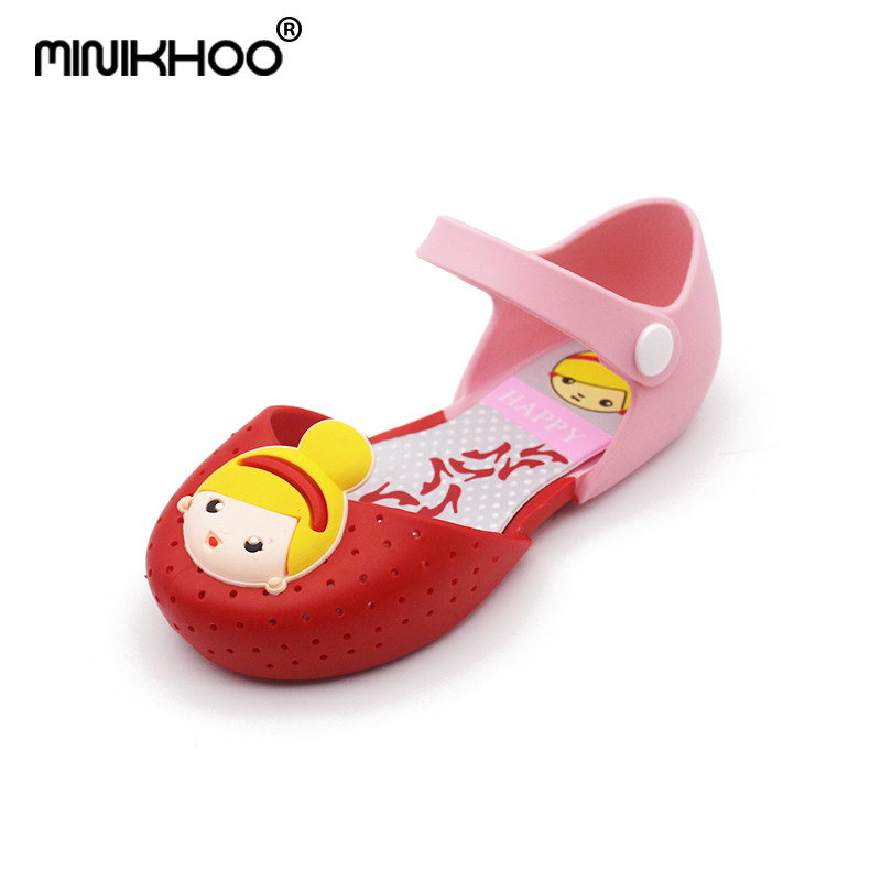 Mini Melissa 2018 Princess Sandals Summer Shoes Girls Princess Shoes Hole Sandals Breathable Sandals Soft Bottom Cartoon Girl