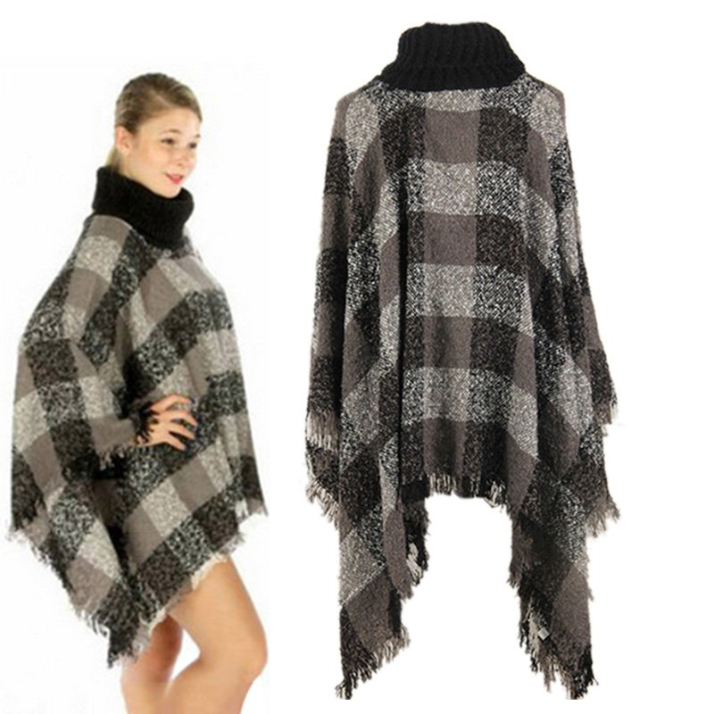 4 Color Ethnic Fusion Tartan Knitted Women Loose Autumn Winter Poncho Knit Turtle Neck Sweater Coat Outwear Y3