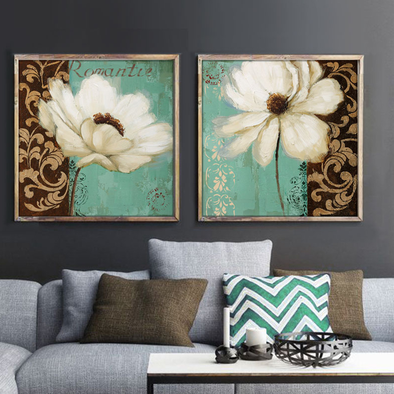 Flower Wall Art Canvas Or Print Kitchen Wall Art Bedroom: Emerald Green And White Poppy Flower Painting Canvas