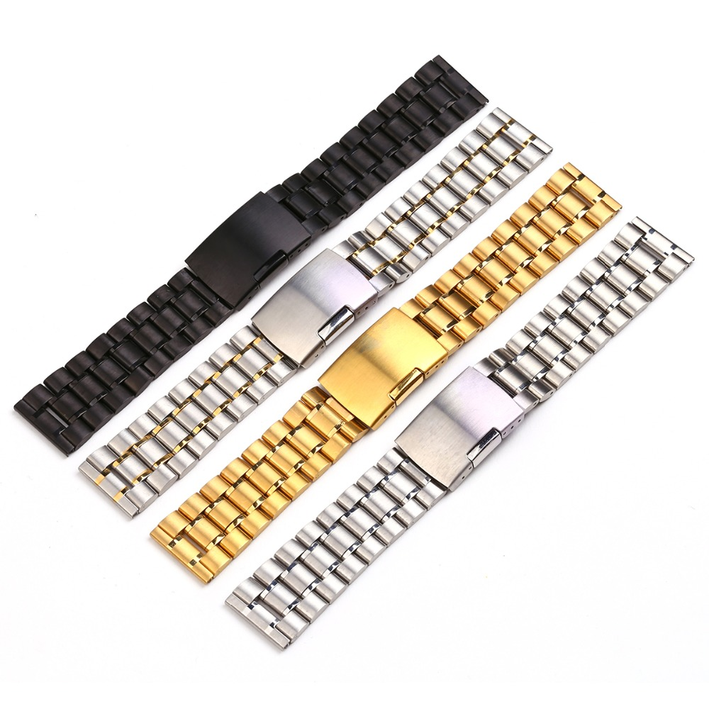 1 Piece Sales Men Soild Stainless Steel Watch Bracelet Watchband 18mm 20mm 22mm 24mm With Smooth Head Different Colors