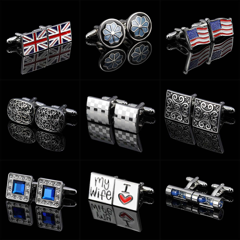 Memolissa Classic Men's Cufflinks Multi-style Flag/Ladybug/Propeller/Hourglass/Knot Design I Love My Wife Wedding Male Cufflink