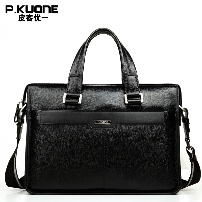 P KUONE Brand Natural Genuine Leather men bag 14 15 inch Laptop Bag Formal Handbags Fashion