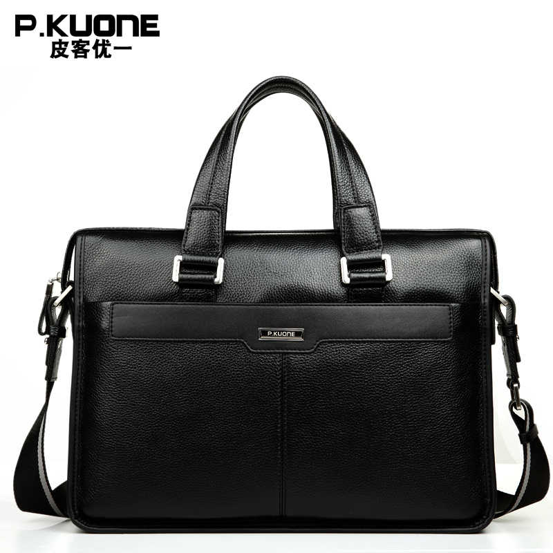 "P.KUONE  Brand Natural Genuine Leather men bag  14"" & 15"" inch Laptop Bag Formal Handbags Fashion business Briefcases"