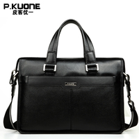 P.KUONE Brand Natural Genuine Leather men bag 14 & 15 inch Laptop Bag Formal Handbags Fashion business Briefcases