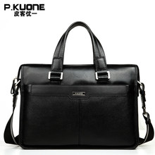 "P.KUONE Brand Natural Genuine Leather men bag 14"" & 15"" inch Laptop Bag Formal Handbags Fashion business Briefcases(China)"