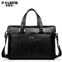 P KUONE Famous Brand Natural Genuine Leather Men Bag Fashion Business Briefcase Best Shoulder Laptop Bag