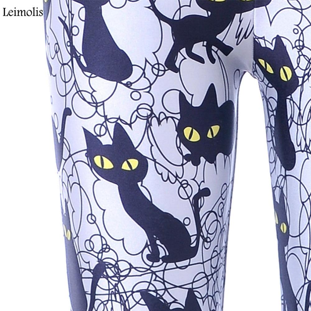 Женские леггинсы Leimolis, с высокой талией, в стиле панк-рок, Харадзюку, для тренировок, фитнеса, пуш-ап, с 3d принтом, ночной, черный, с котом, боль...