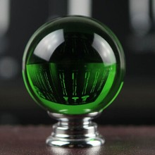 40mm fashion deluxe glass crystal furniture knobs green crystal drawer cabinet knob pull silver dresser cupboard door handles