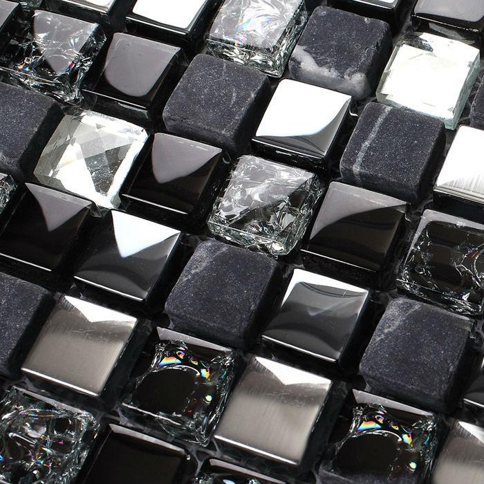 Stone Glass Blend Kitchen Backsplash Tile Marble Stainless Steel