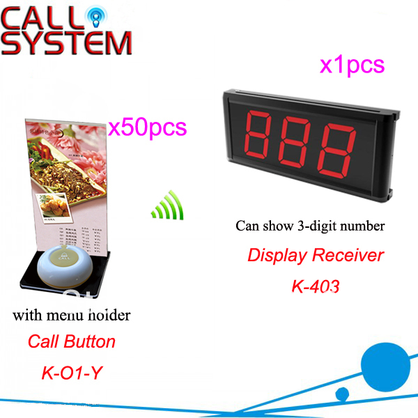 Waiter Pager System K-403+O1-Y+H for Restaurant Cafe Hotel with 1pcs 1-key call button and 50pcs 3-digit display Free Shipping new customer call button system for restaurant cafe hotel with 15 call button and 1 display shipping free