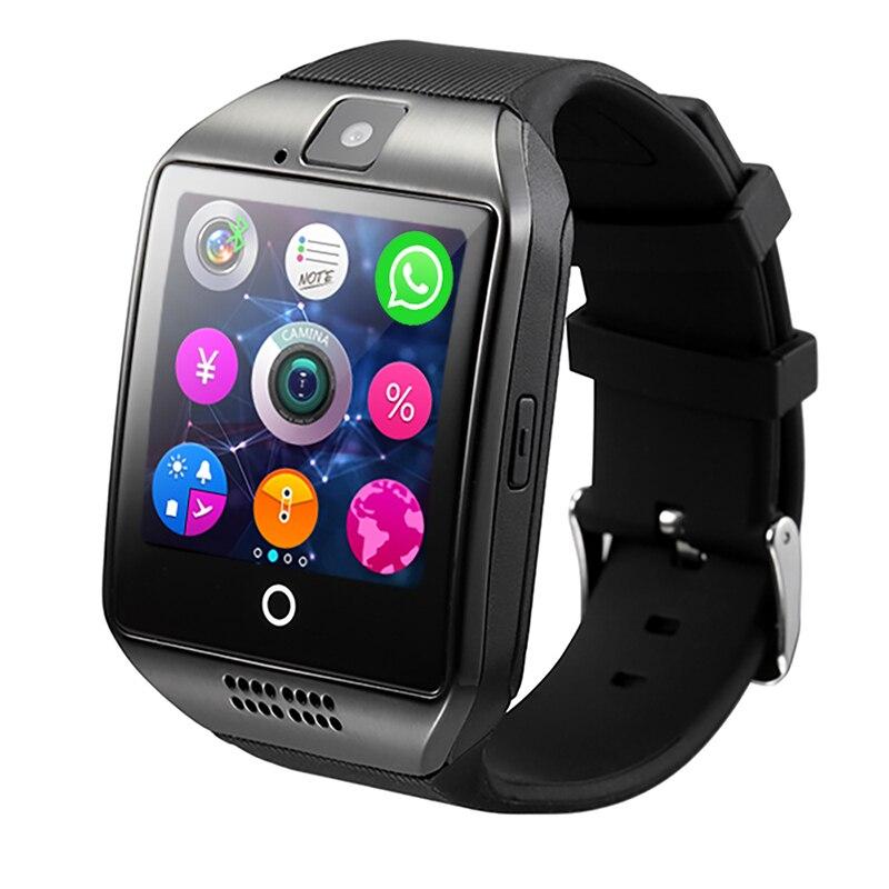 Q18 Bluetooth Montre Smart Watch Smartwatch Appel Relogio 2g GSM SIM TF Carte Caméra pour iOS Android Téléphone Podomètre facebook PK DZ09 Y1