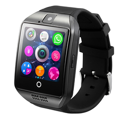 Q18 Smartwatch Bluetooth Relógio Inteligente Chamada 2 Relogio g GSM SIM Card TF Camera para iOS Android Phone Pedômetro facebook PK DZ09 Y1