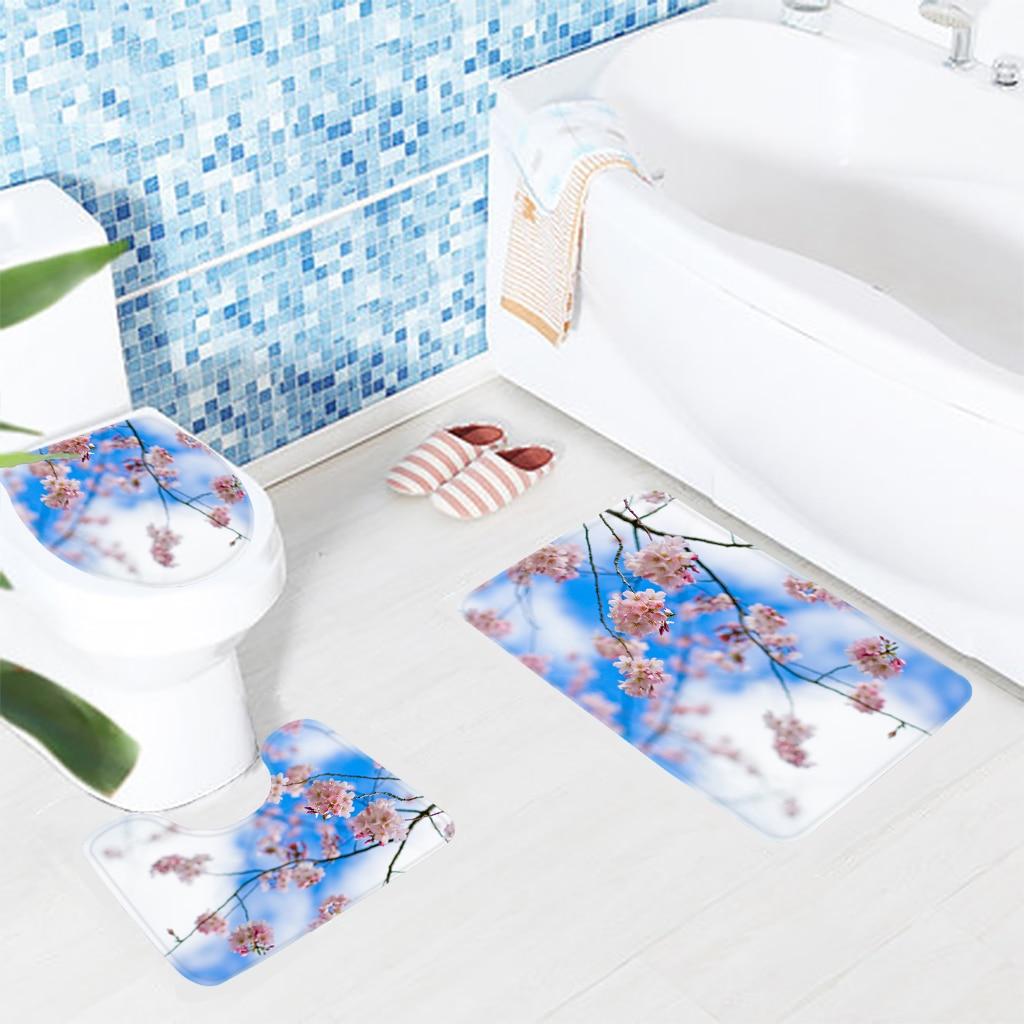 3pcs Flawer Bathroom Mat Set Light Pink Cherry Blossoms Pattern Bath ...