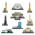 Lincoln Memorial Brandenburg Gate Big Ben Mini Building Blocks World Famous Building Landmark Assembly Enlighten DIY Mini Bricks