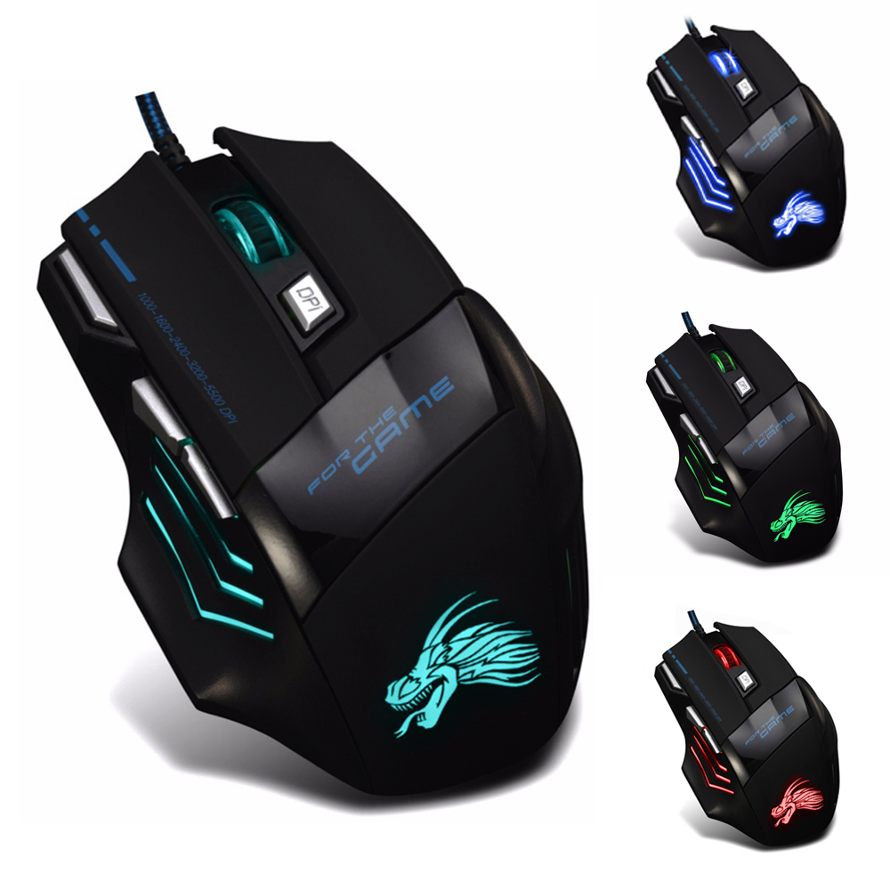 Alta Qualidade 7 Botão Óptico USB LED Wired Gaming Mouse 5500 DPI Jogo mouse mouse para Gamer Profissional Cabo Mause PC Desktop