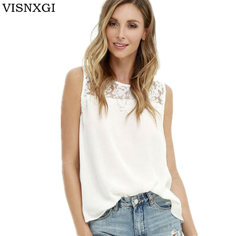 VISNXGI dentelle Blouse chemises 2019 été mode élégant solide femmes Blouses sans manches dentelle en mousseline de soie o-cou grande taille chemise hauts