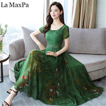 Womens Dresses New Arrival 2019 Summer Chiffon dresses for women Causal Loose Print Dress Slim was thin Clothing vestido mujer
