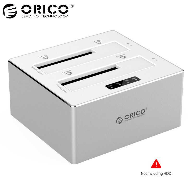 ORICO 2.5/3.5 inch HDD Case Aluminum External HDD Docking Station Enclosure Case Box USB3.0 to SATA Dual-Bay Offline Clone 16TB ugreen hdd enclosure sata to usb 3 0 hdd case tool free for 7 9 5mm 2 5 inch sata ssd up to 6tb hard disk box external hdd case