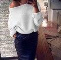 La raya vertical de Cuello de Punto Suéteres Mujeres Sexy Colores Sólidos de Manga Larga Pullover Sweater Plus Tamaño Hombro Líneas Gruesas Tops Sueltos