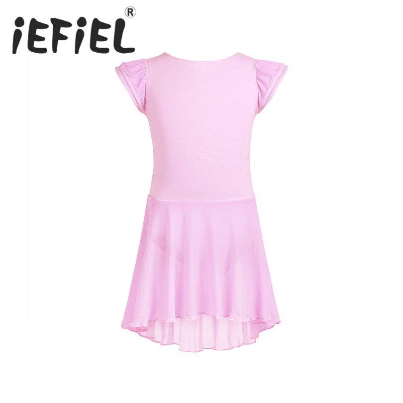 iEFiEL Girls Kids Children Short Ruffled Sleeves Ballet Dance Gymnastics Leotard Tutu Dress Performance Dance Costumes Clothes