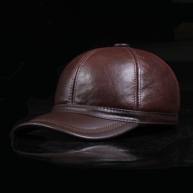 The New Autumn And Winter Men'S Real Leather Hats Baseball Cap Dome Flat Eaves Snapback Adult Male Ear-Protect Caps