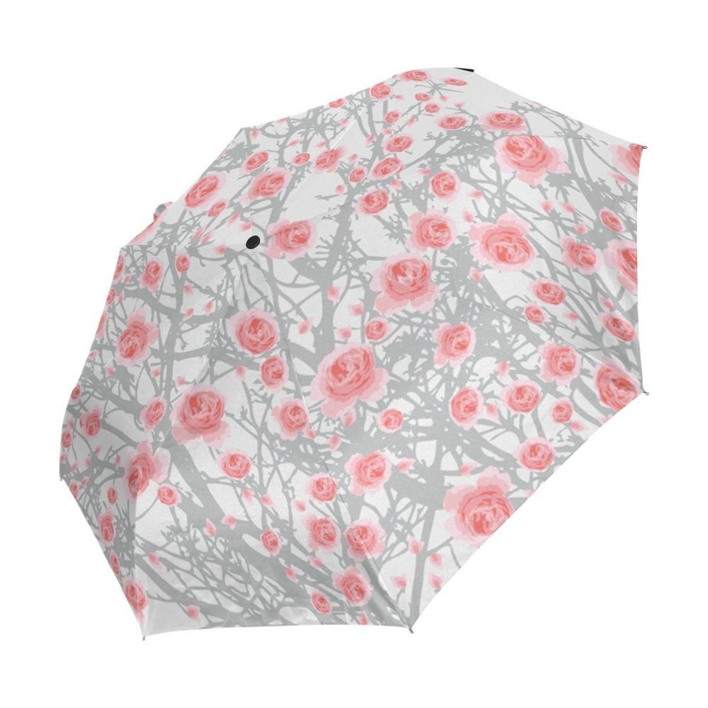 Peinture pluie parapluie dessin Art Rose motif parapluies fleur imprimé automatique trois-pliage femme mâle soleil pluie parapluie