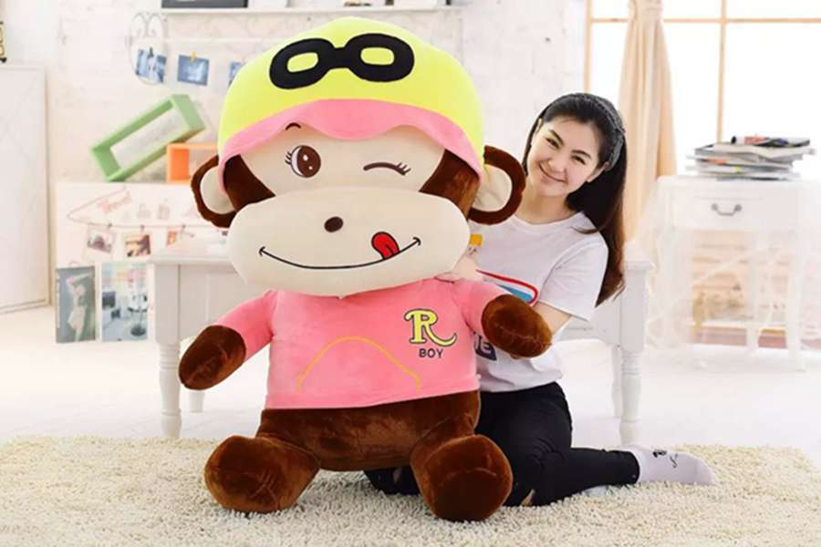 stuffed toy , huge 100cm naughty monkey plush toy hugging pillow ,surprised Christmas gift h243 stuffed animal 44 cm plush standing cow toy simulation dairy cattle doll great gift w501