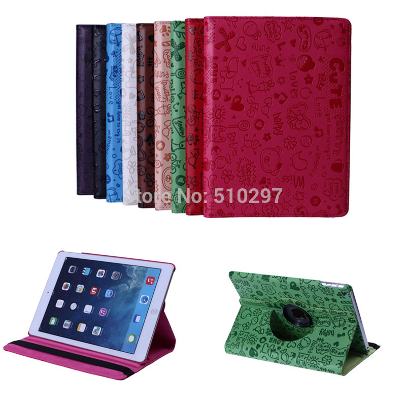 Fashion Newest Luxury Cover For Apple iPad Air 2 iPad 6 PU Leather Little Witch Cute Fashion 360 Rotating Skin Case