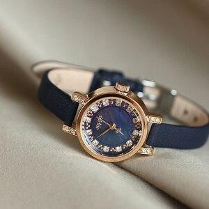 Image 2 - Dame frauen Uhr Julius Japan Quarz Stunden Uhr Mode Leder Armband Shell Strass Geburtstag Mädchen Weihnachten Geschenk