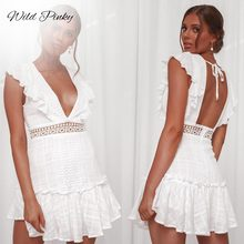 WildPinky 2019 Fashion Women Clothing Summer Lace Up Dress Female Hollow Out White Boho Sexy Party Vestidos